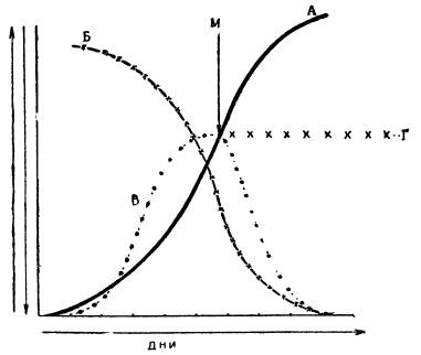 График, поясняющий характеристику работы установки по непрерывному производству хлореллы
